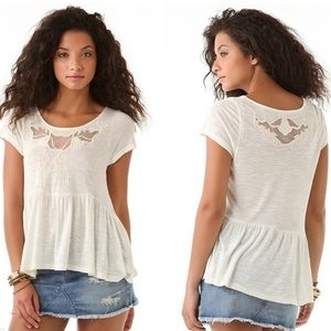 Free People Ivory Peplum Babydoll Embroidered Top